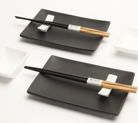Zestaw do sushi Black & white III dla 2 osób