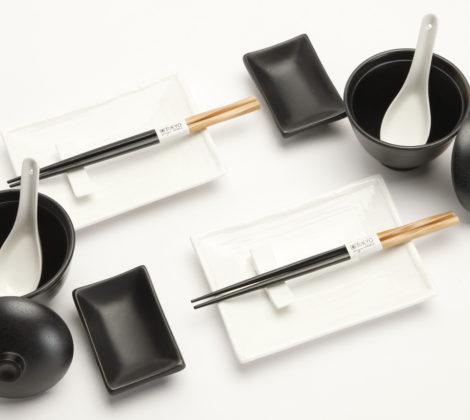 Zestaw do sushi Black & white III dla 2 osób duży