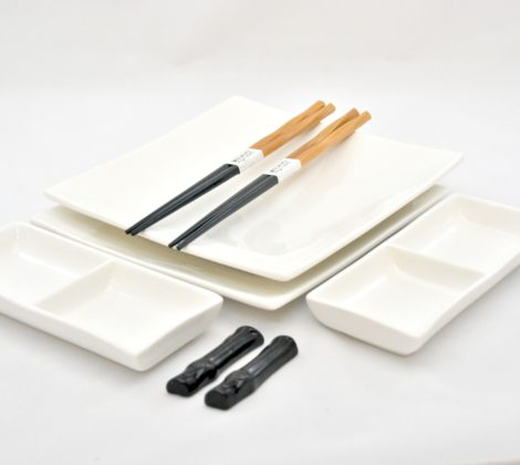 Zestaw do sushi Black & white VI dla 2 osób