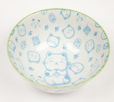 Miska Maneki neko 15,2 x 8 cm, biało - niebieska