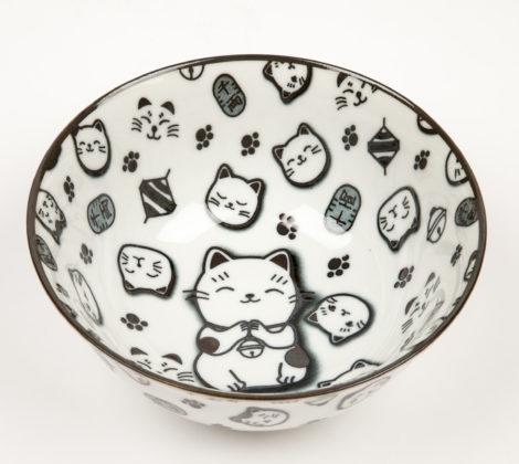 Miska Maneki neko 15,2 x 8 cm, biało - czarna