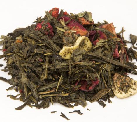 Herbata zielona Sencha z malinami i figą premium 100 g