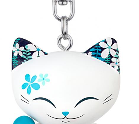 brelok mani lucky cat biały niebieski 5 cm