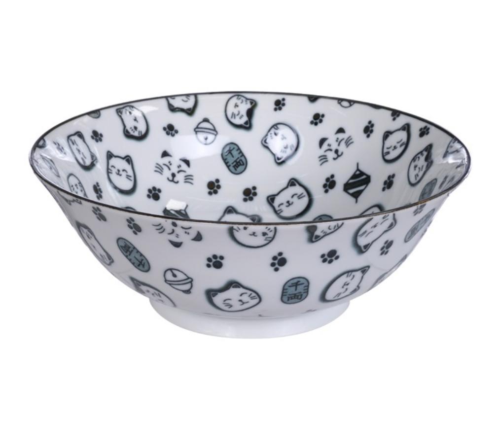 Ceramiczna miska do ramenu Lucky cat czarna 19,5 x 7 cm