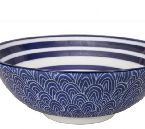 Ceramiczna miska do ramenu Blue paski 21,5 x 7 cm