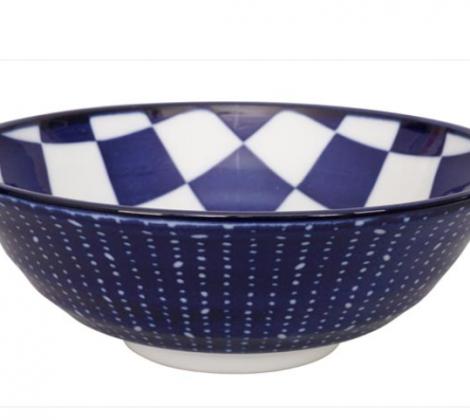 Ceramiczna miska do ramenu Blue kratka