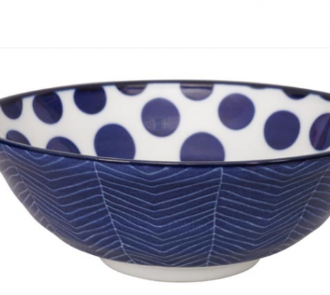 Ceramiczna miska do ramenu Blue - kropki 21,5 x 7 cm