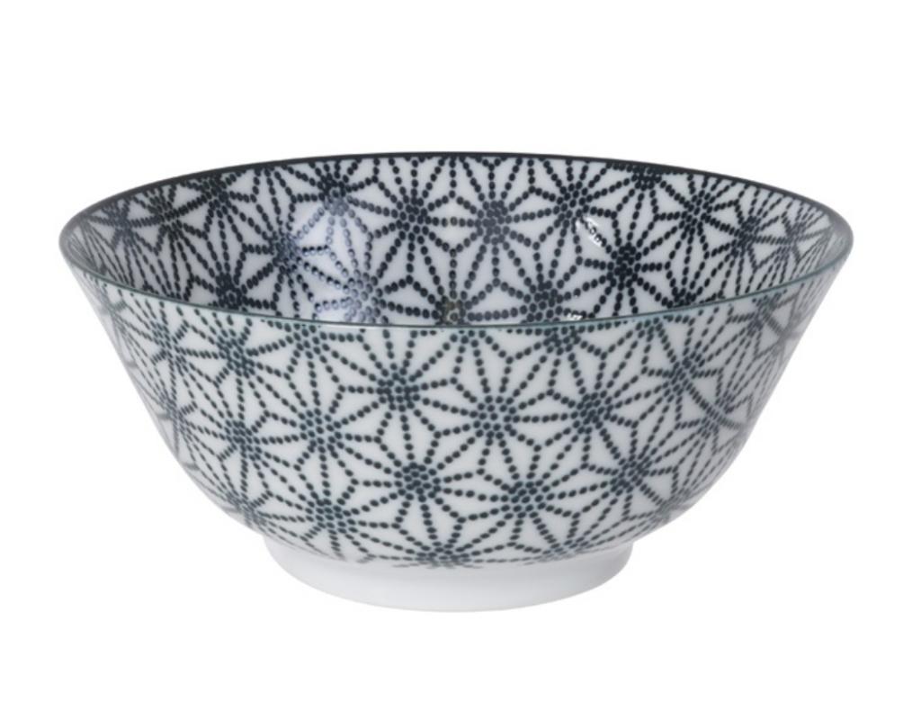 Ceramiczna miska do ramenu czarno - biała Gwiazdki 21,5 x 7 cm