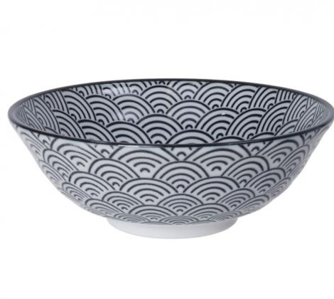 ceramiczna miska do ramenu czarno - biała Wave 21,5 x 7 cm