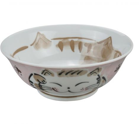 Ceramiczna miska do ramenu Kot różowa 21,5 x 7 cm