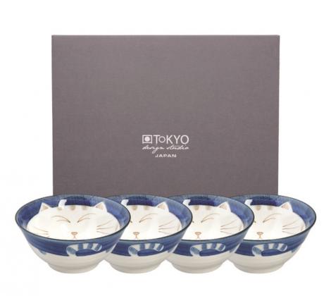 Zestaw 4 misek Tokyo design Kawaii blue 15 x 6 cm