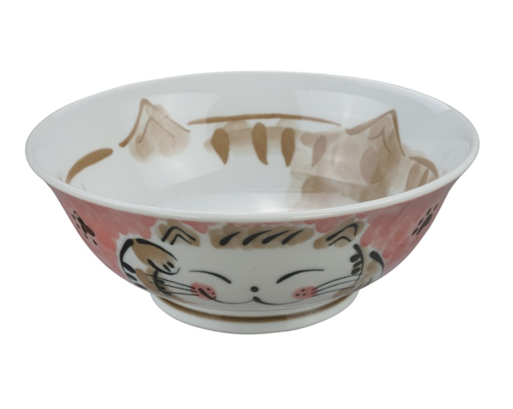 Ceramiczna miska do ramenu Kot czerwona 21,5 x 7 cm
