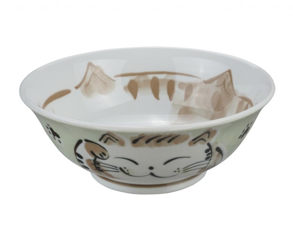 Ceramiczna miska do ramenu Kot zielona 21,5 x 7 cm
